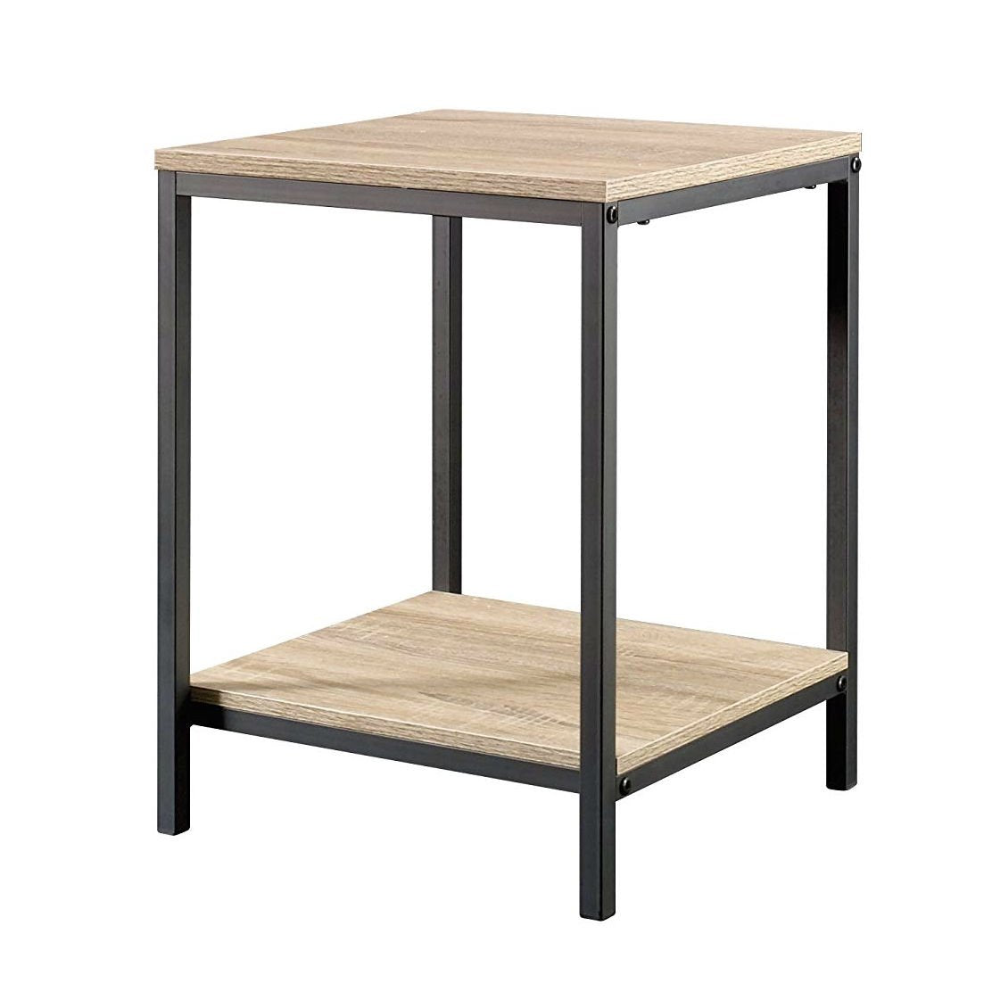 Modern Black Metal Frame End Table with Oak Finish Wood Top and Bottom Shelf