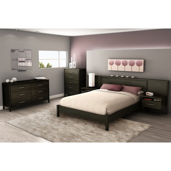Queen size Modern Platform Bed Frame in Black Ebony Finish