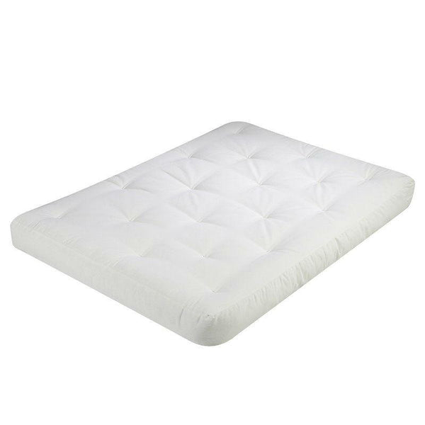 Full size 5-inch Thick Cotton/Poly Futon Mattress in White - Made in USA
