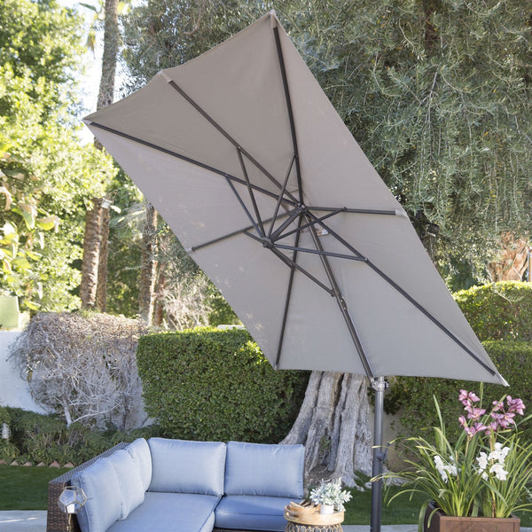 Square 8.5-Ft Offset Patio Umbrella with Mocha Shade and Bronze Finish Pole