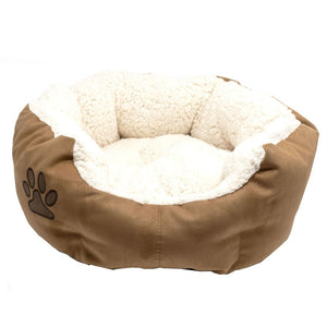 Round 18-inch Plush Cat or Small Dog Bed with Machine Washable Insert