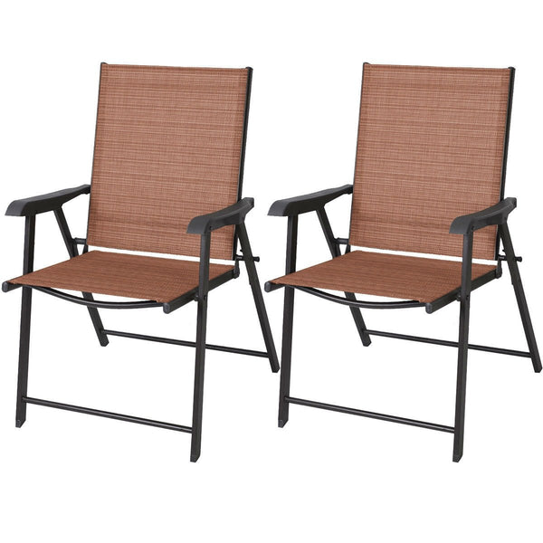 Set of 2 Outdoor Folding Patio Chairs in Brick Red Brown with Black Metal Frame