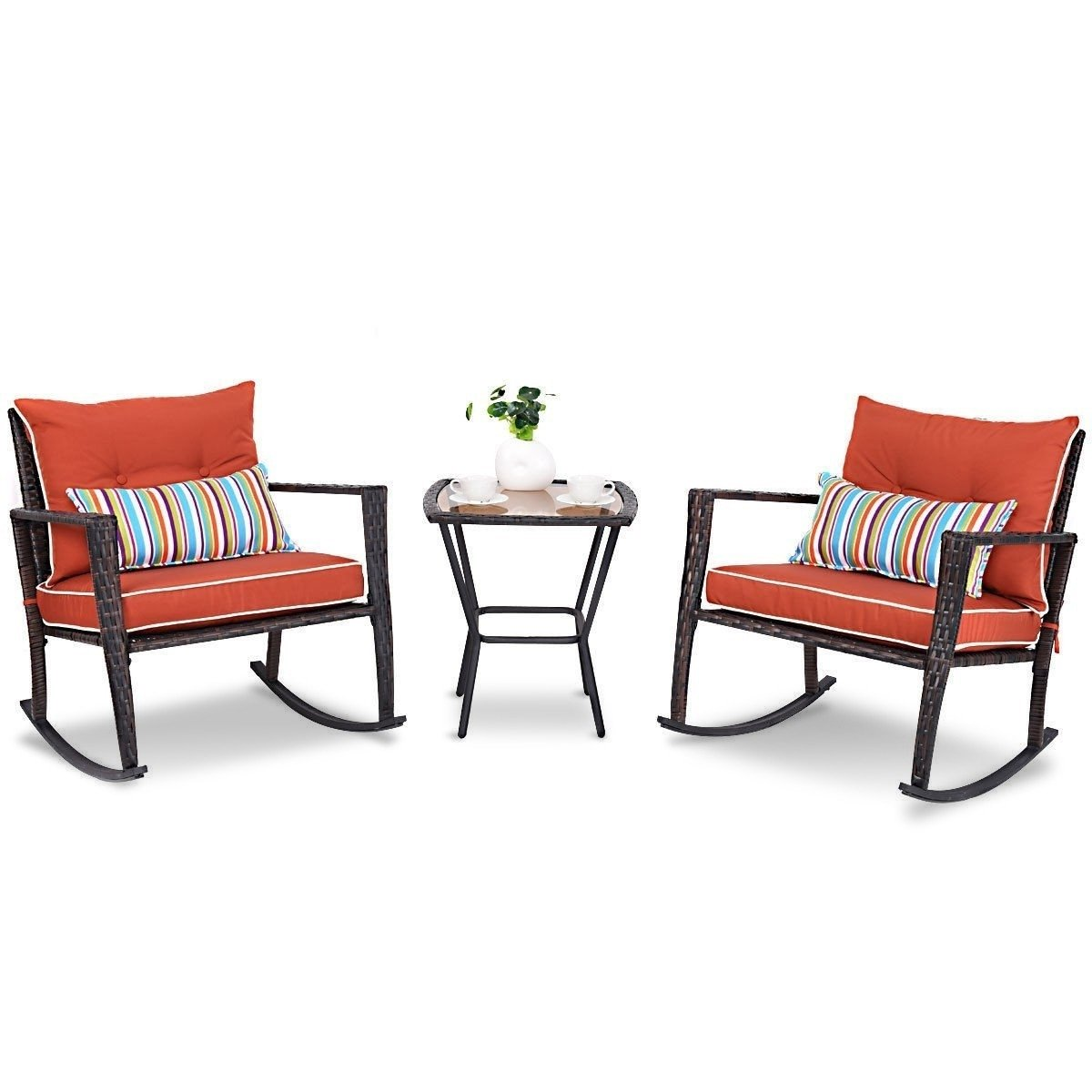 Outdoor 3-Piece Rattan Rocking Chairs and Table Set with Red Cushions
