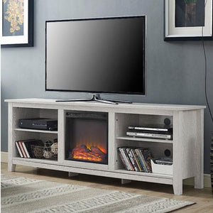 White Wash Wood 70-inch TV Stand Fireplace Space Heater