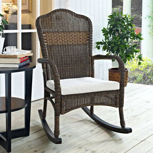 Indoor/Outdoor Patio Porch Mocha Wicker Rocking Chair with Beige Cushion