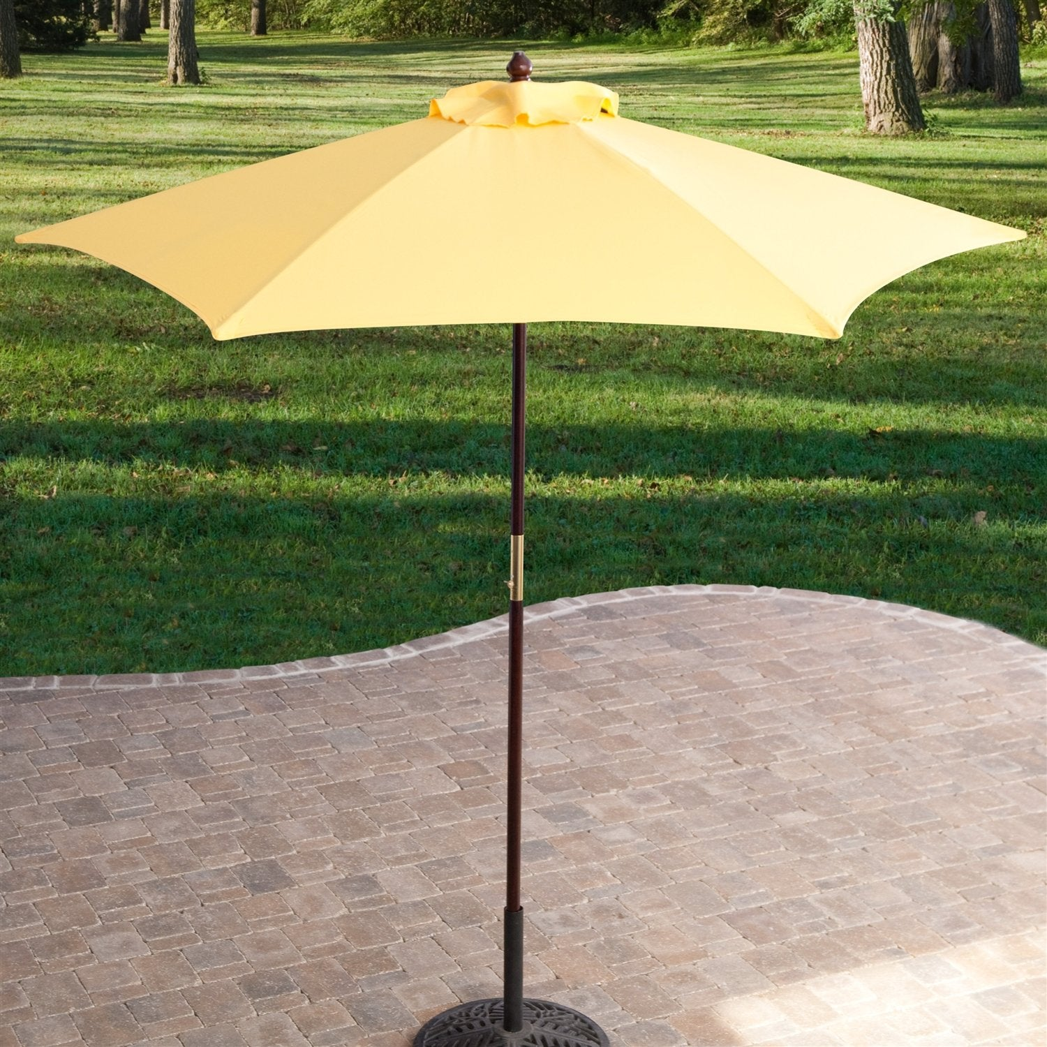 Yellow 7.5-Ft Patio Umbrella with Dark Mahogany Stained Pole