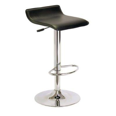 Contemporary ABS Air-Lift Swivel Bar Stool in Black Faux Leather