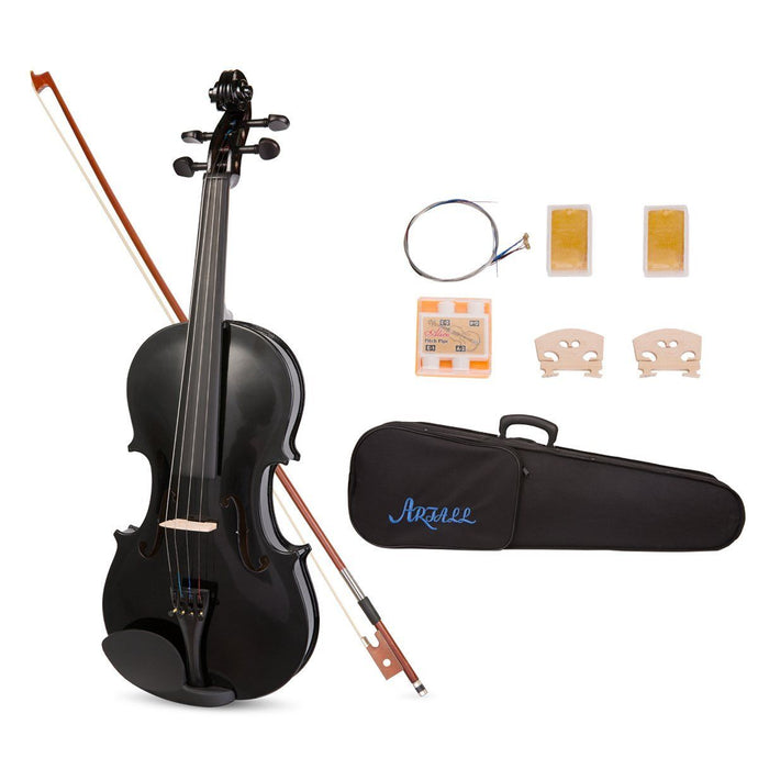 ARTALL 4/4 Handmade Student Acoustic Violin Beginner Pack (Glossy Black) - Science On Supply