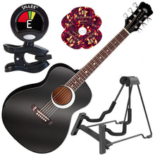 Load image into Gallery viewer, Luna Aurora Borealis 3/4 size Acoustic Guitar Black Pearl with Instrument Stand - Science On Supply