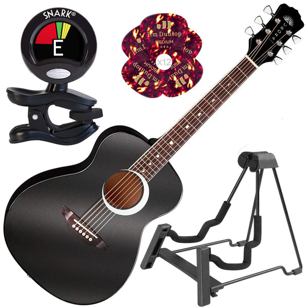 Luna Aurora Borealis 3/4 size Acoustic Guitar Black Pearl with Instrument Stand - Science On Supply