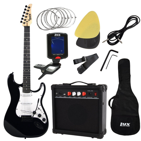LyxPro Beginner Starter kit Full Size Electric Guitar with 20w Amp, Package (Black) - Science On Supply