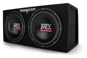 "MTX Audio TNE212DV Dual 12"" Subwoofer Vented Enclosure, Black - Science On Supply"
