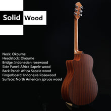 "Load image into Gallery viewer, Beginner Acoustic Guitar Ranch 41"" Full Size Solid Wood Cutaway (Beginners) - Science On Supply"