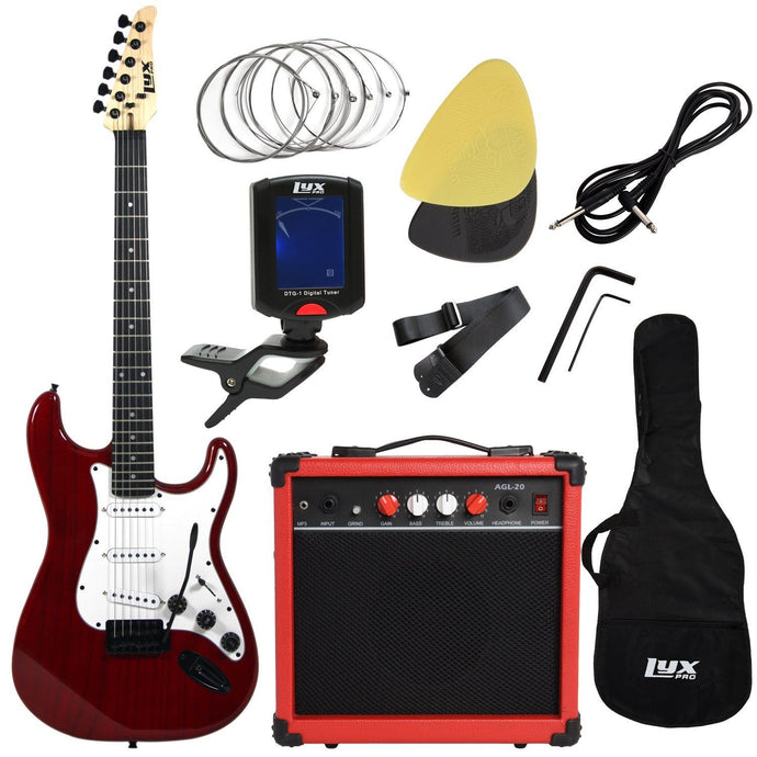 LyxPro Electric Guitar with 20w Amp, Package (Red) - Science On Supply