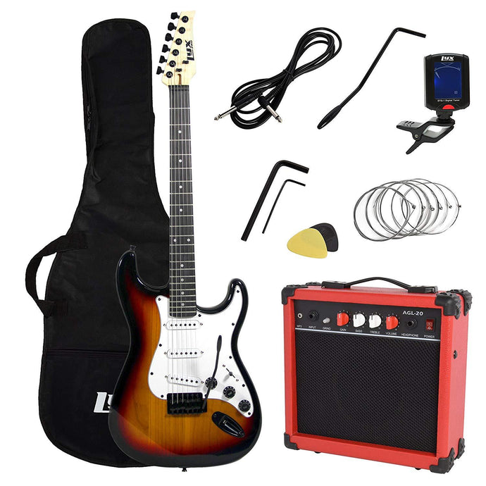 LyxPro Full Size Electric Guitar with 20w Amp, Package (Sunburst) - Science On Supply