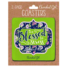 Load image into Gallery viewer, Cherished Girl Too Blessed Drink Coasters - Science On Supply