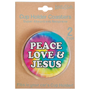 Kerusso Peace Love & Jesus Auto Coaster - Science On Supply