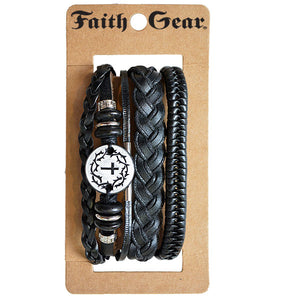 Faith Gear Guy's Bracelet Set - Crown Cross - Science On Supply
