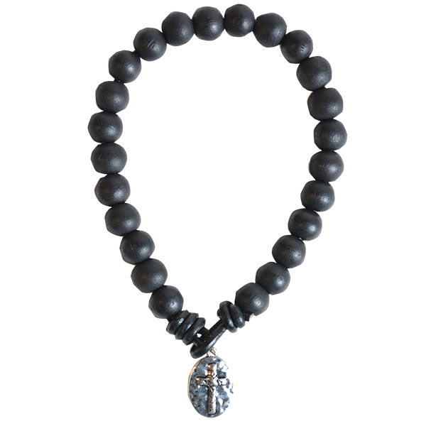 Guy's Bracelet - Black Bead With Cross - Science On Supply