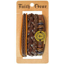 Load image into Gallery viewer, Faith Gear Gold Crown Cross Mens Bracelet Set - Science On Supply