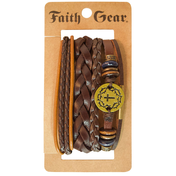Faith Gear Gold Crown Cross Mens Bracelet Set - Science On Supply