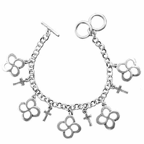 Swirl Cross Silver Women's Bracelet - Science On Supply