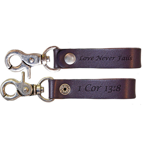 Women's Leather Key Chain - Love Never Fails - Science On Supply