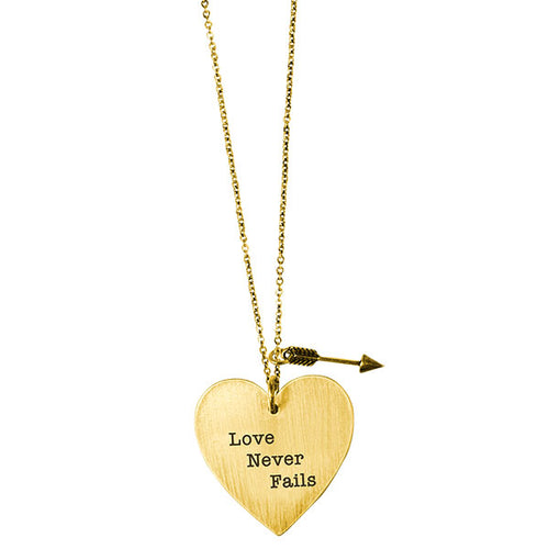 Faith Gear® Love Never Fails Womens Heart Necklace - Science On Supply
