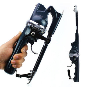 Foldable fishing rod W/ built-in wheel self-contained fishing line - Science On Supply
