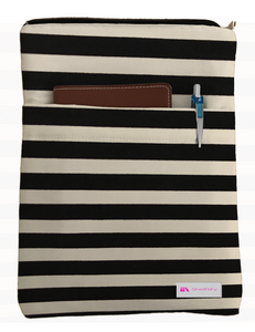 Black Stripes Book Sleeve - 100% Cotton Fabric