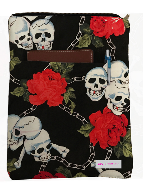Skulls and Roses Book Sleeve - 100% Cotton Fabric