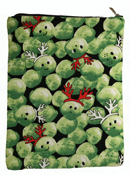Green Reindeer Vegetables Book Sleeve - 100% Cotton Fabric