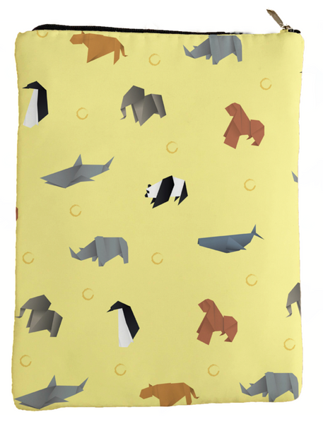Origami Animals Book Sleeve - Book Cover For Hardcover and Paperback - Book Lover Gift - Notebooks and Pens Not Included