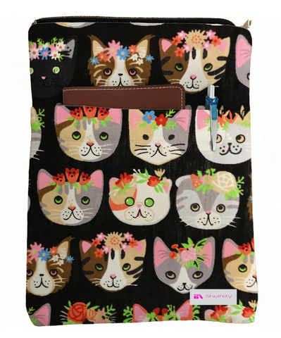 Black Meow Book Sleeve - 100% Cotton Fabric
