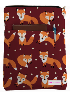 Cute Foxes Book Sleeve - Book Cover For Hardcover and Paperback - Book Lover Gift - Notebooks and Pens Not Included
