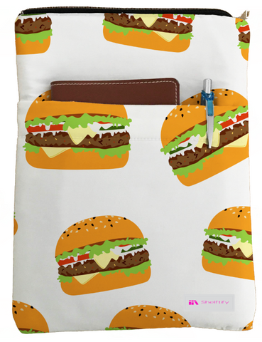 Burgers Book Sleeve - Book Cover For Hardcover and Paperback - Book Lover Gift - Notebooks and Pens Not Included