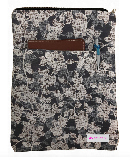 Abstract Floral (Navy) Book Sleeve - 100% Cotton Fabric