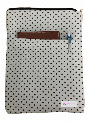 Black Polka Dot Book Sleeve - 100% Cotton Fabric