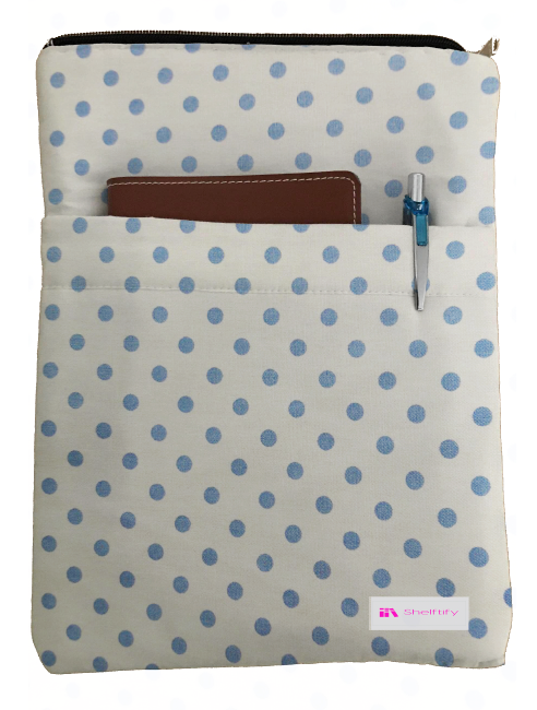 Blue Polka Dot Book Sleeve - 100% Cotton Fabric