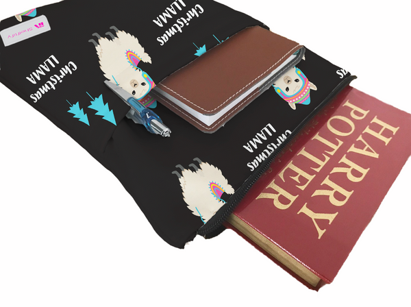 Christmas Llama Book Sleeve - Book Cover For Hardcover and Paperback - Book Lover Gift - Notebooks and Pens Not Included
