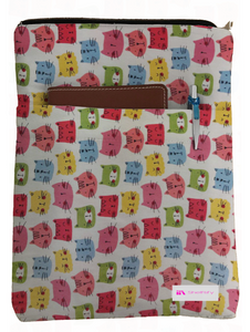 Colorful Cats Book Sleeve - 100% Cotton Fabric