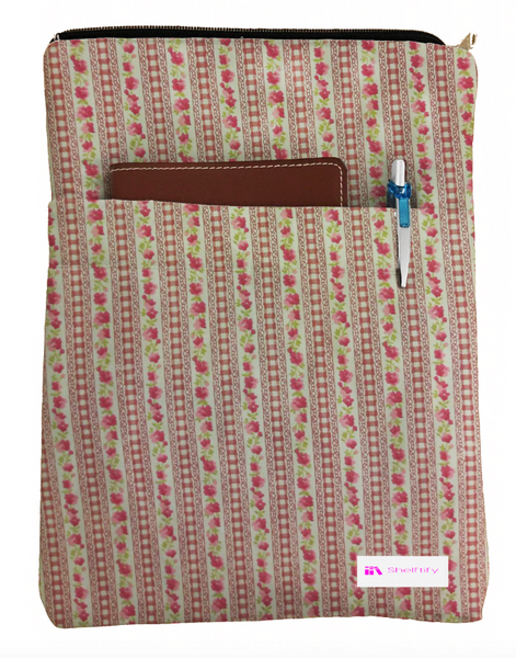 Cute Red Flower Book Sleeve - 100% Cotton Fabric