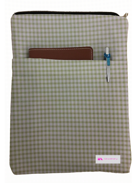 Green Checkered Book Sleeve - 100% Cotton Fabric