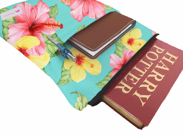 Hibicus Book Sleeve - Book Cover For Hardcover and Paperback - Book Lover Gift - Notebooks and Pens Not Included