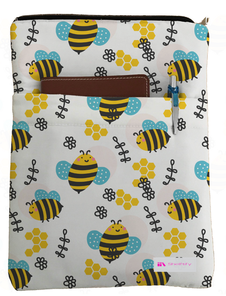 Bees Book Sleeve - Book Cover For Hardcover and Paperback - Book Lover Gift - Notebooks and Pens Not Included