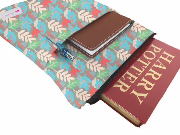Colorful Leaves Book Sleeve - Book Cover For Hardcover and Paperback - Book Lover Gift - Notebooks and Pens Not Included