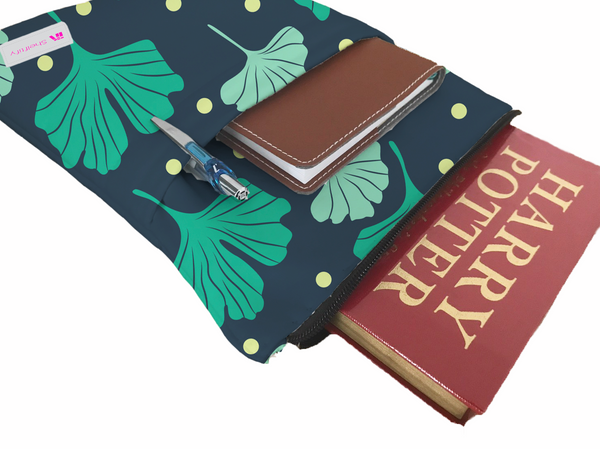 Gingko Book Sleeve - Book Cover For Hardcover and Paperback - Book Lover Gift - Notebooks and Pens Not Included