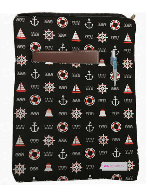 Nautical Print Book Sleeve - 100% Cotton Fabric