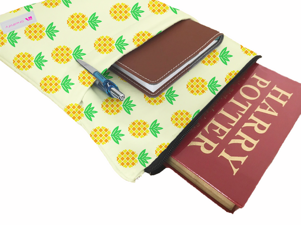 Little Pineapples Book Sleeve - Book Cover For Hardcover and Paperback - Book Lover Gift - Notebooks and Pens Not Included