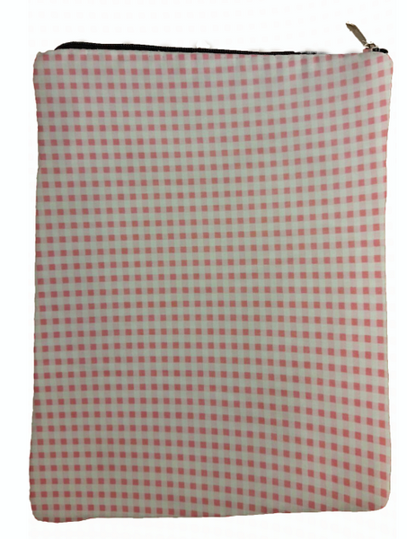Pink Checkered Book Sleeve - 100% Cotton Fabric